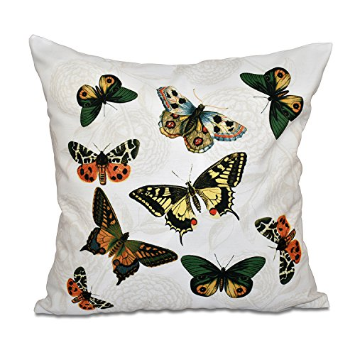 E by design O5PAN492WH1IV2-16 16 x 16'' Antique Butterflies and Flowers Animal White Outdoor Pillow by E by design