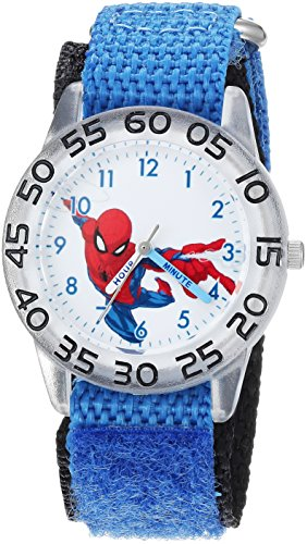 Marvel Boy's 'Spider-Man' Quartz Plastic and Nylon Casual Watch, Color:Blue (Model: WMA000175)
