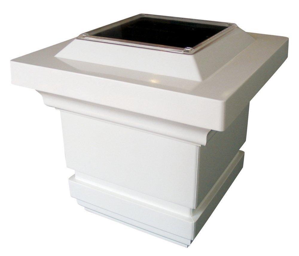 Classy Caps SL074W Classy 4'' x 4'' PVC Solar Post Cap 6-pack/White
