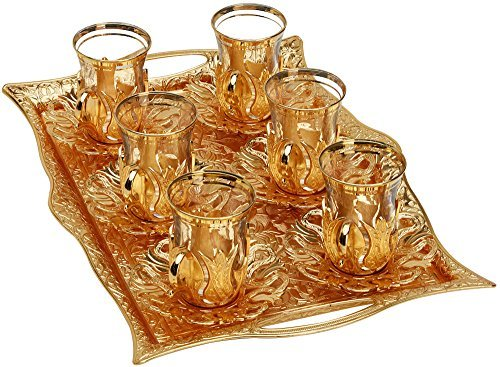 Turkish Tea Set for 6 - Glasses with Brass Holders Lids Saucers Tray Glass Spoons,25 Pcs (Gold)