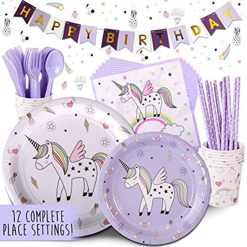 Children's Unicorn Party Supply Pack, 72 Piece Set Rainbow of Party Supplies Plus Happy Birthday Banner, Purple, Serves 12 by Trendy Brandy