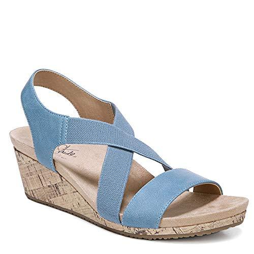 (LifeStride Women's Mexico Wedge Sandal, Sky Blue, 9 M US)