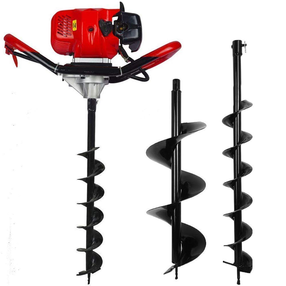FISTERS 2.5HP Gas Powered Post Hole Digger with 6'' & 10''Earth Auger 52CC Power Engine (6'' + 10'' Auger Bits US) (Engine Motor with 6''&10''Auger Bits) by Fisters