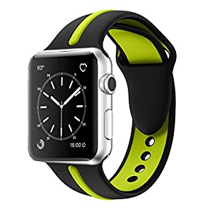 Apple Watch Band, Solomo [Sport Series] Fashion iWatch Strap Soft Durable Silicone Replacement Stripe Color Splicing Style with Women / Men Wristband for Apple Watch Nike+, Series 3 /2 /1