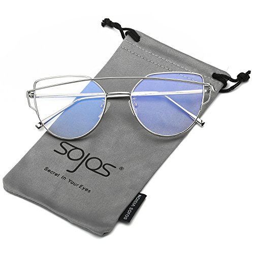 [SojoS Fashion Twin-Beams Metal Frame Cat Eye Women Clear Lens Glasses SJ1001 With Silver Frame/Clear] (Clear Cat Eye Glasses)