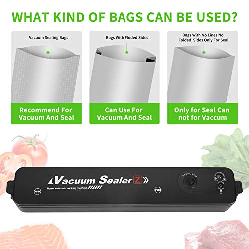 Vacuum Sealer Machine - Automatic Food Sealer for Food Preservation, Suitable for Dry & Moist Food, Portable Sealer with 15 Vacuum Sealer Bags | Compact Design | Easy to Clean | Led Indicator Lights | Vacuum and Seal Modes