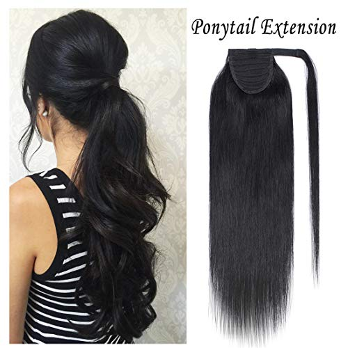 - Wrap Around Ponytail Human Hair Extensions for Women Clip in Remy Human Hair Ponytail Hairpiece Long Straight Silky 14Inch #1B Natural Black
