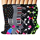 Iseasoo 7 Pack Copper Knee High Compression Socks for Men & Women-Best for Running,Athletic,Medical,Pregnancy and Travel -15-20mmHg (S/M, 8 Pair Pattern 1(no Copper))