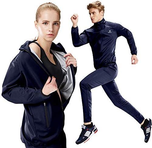 KEBILI Full Zip Up Sauna Jacket Pants for Women Men Weight Loss 1