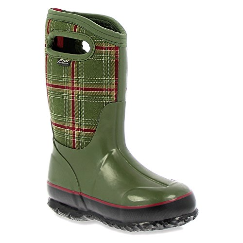 Bogs Kids Classic Winter Plaid Winter Snow Boot Olive Multi