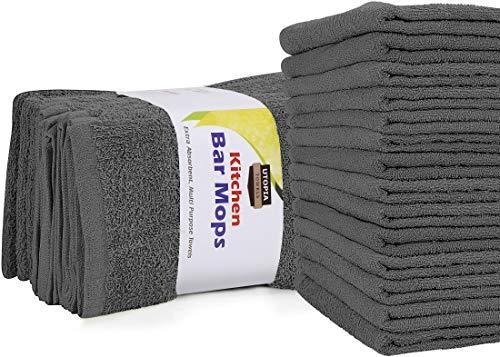 Utopia Towels Kitchen Bar Mops Towels, Pack of 12 Towels – 16 x 19 Inches, 100% Cotton Super Absorbent Grey Bar Towels…