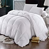 Oversized King Duvet Covers 118 X 98 Precious Star Linen 600 Thread Count Egyptian Cotton 1Pcs Comforter 300 GSM Cocoon Microfiber Filling, Soft & Smooth Light Weight (White Solid, Oversized King (98'' x 120''))