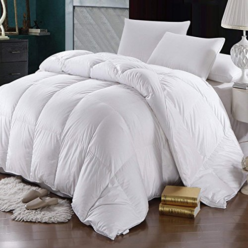 Precious Star Linen 600 Thread Count Egyptian Cotton 1Pcs Comforter 300 GSM Cocoon Microfiber Filling, Soft & Smooth Light Weight (White Solid, Oversized King (98'' x 120''))