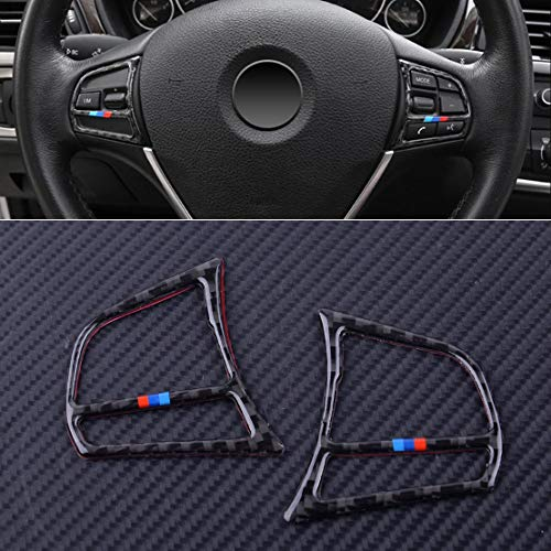 DDV-US 2Pcs Black Carbon Fiber Steering Wheel Control Button Cover Trims Frame for BMW 3 4 Series F30 F31 F32 F33 F36 2014-1018