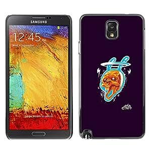 CASECO - Samsung Note 3 N9000 - Rabbit Skull - Delgado Negro Plástico caso cubierta Shell Armor Funda Case Cover - Cráneo Conejo