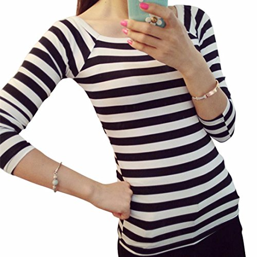 Fashion Sweater, Egmy 1PC Newest Women Slim Round Neck Long Sleeve Striped Bottoming Shirt Blouse Tops (M, Black) - Bottoming Sweater