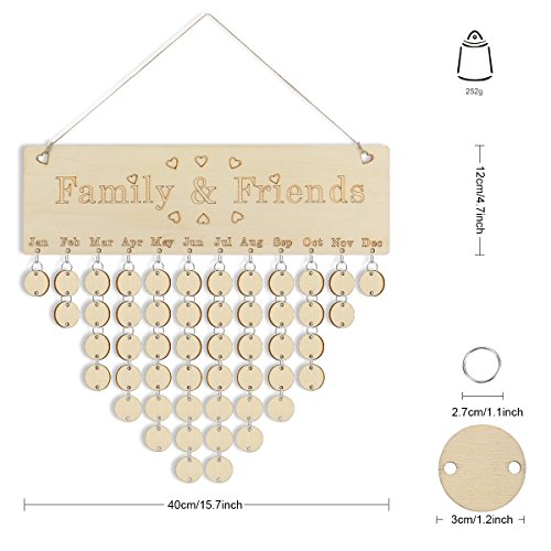 Joy-Leo (New Launch) Wood DIY Family & Friends Birthday Reminder Calendar, Different Way for Birthday & Events Reminder, Rustic Decorative Wooden Wall Calendar (Engraved Series, Round (A-glance Personalized Wall Calendar)