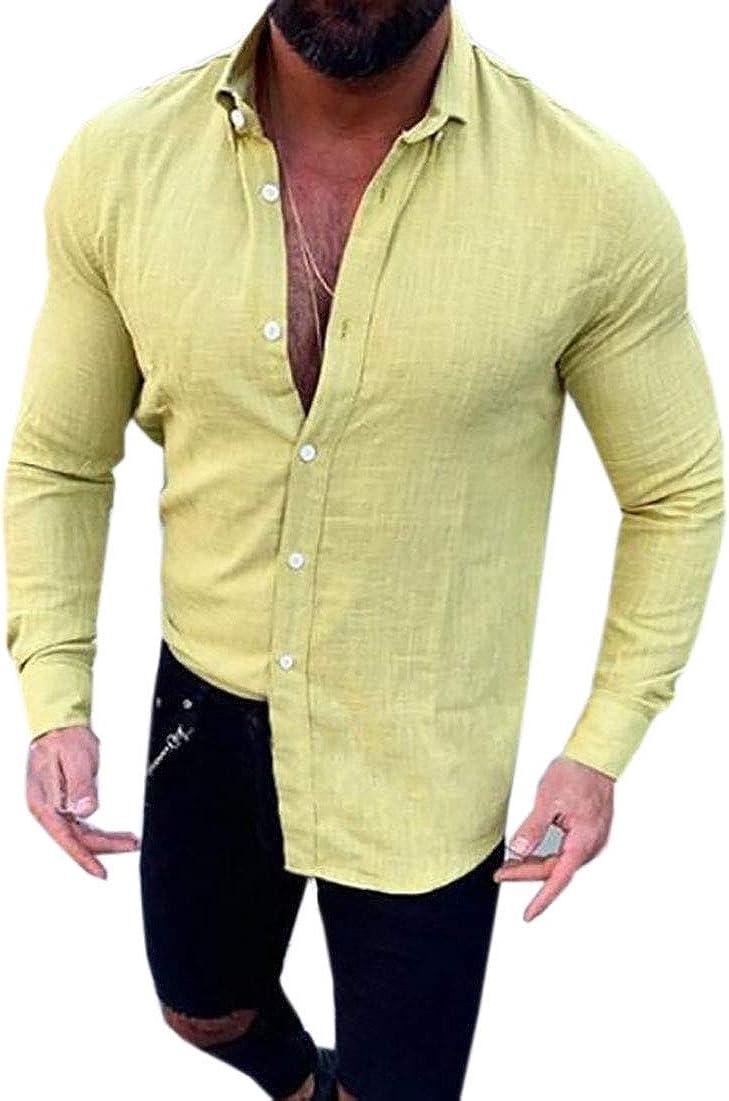 BYWX Men Slim Long Sleeve Button Front Business Work Casual Shirt