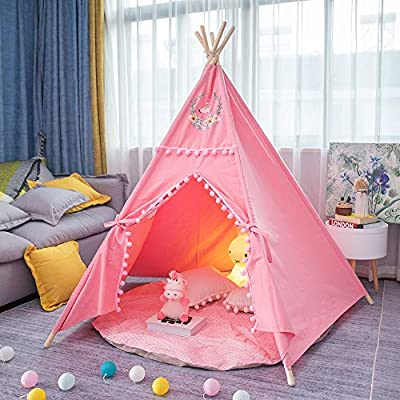 Zhi Cheng Kids Teepee Tent Kids Foldable Play Tent for Indoor Outdoor, Unicorn Canvas Teepee - Kids Playhouse - Portable Kids Tent (Pink): Toys & Games