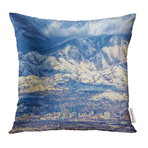 SHAMS OK Throw Pillow Cover Snow Zoomed in View of Downtown Salt Lake City Utah USA Day Winter Decorative Pillow Case Home Decor Square 18x18 Inches -
