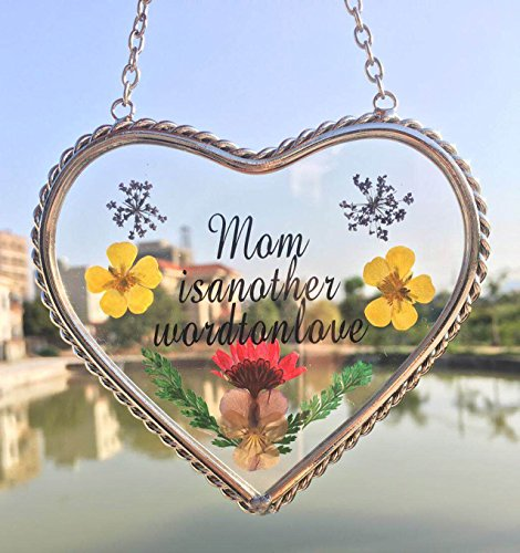 Mom Suncatcher (Tiffany Lamp & Gift Factory Mom Heart Mother Suncatcher with Pressed Flower Wings - Heart Suncatcher - Mom Gifts Gift for Mother's Day (4.54.5))