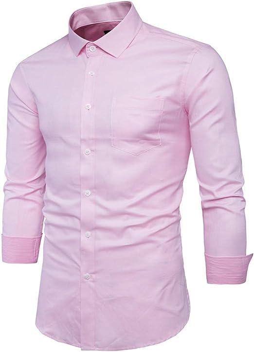 YaXuan Camisa Rosada de los Hombres de los Hombres Chemise Homme ...