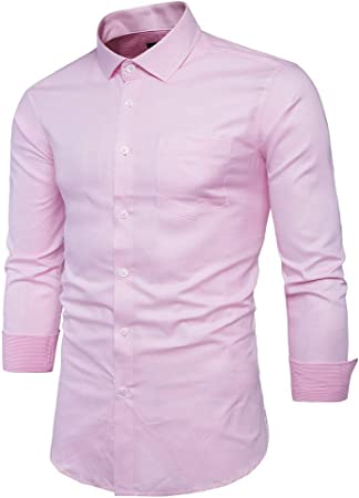 Amazon Com Men S Pink Shirt Men Chemise Homme Fashion Design Long Sleeve Slim Fit Business Mens Dress Shirts Causal Solid Color Mens Shirts Color Pink Size 39 Garden Outdoor
