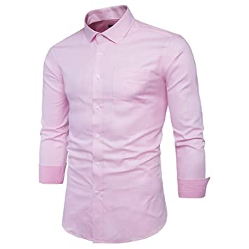 Men s Pink Shirt Men Chemise Homme Fashion Design Long Sleeve Slim Fit  Business Mens Dress Shirts a9b50272239