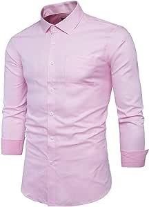YaXuan Camisa Rosada de los Hombres de los Hombres Chemise ...
