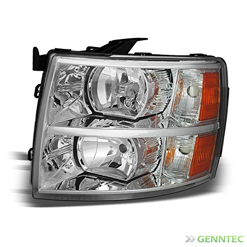 For 2007-2014 Silverado Driver Side Replacement Headlight Chrome Left LH Front Lamp /2008 2009 2010 2011 2012 2013 (Left Side Headlight)