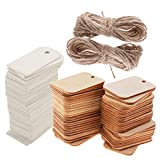 MagiDeal 100 Pieces White and Wood Color Unfinished Wood Tags Wooden Gift Tags for Wedding Party Favors 2 Colors