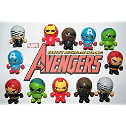Marvel Avengers Super Hero Figures Deluxe Party Favors Goody Bag Fillers 12 Set of Neat 3 in 1 Toys with Figures, Bounce Balls and switchable Heads with the Hulk,Thor Etc!