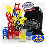 """""""Drunken Chairs"""" Deluxe Chairs Stack & Balance Drinking Game with Exclusive """"Matty's Toy Stop"""" Storage Bag"""