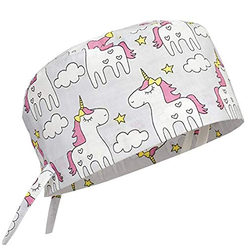 Scrub Cap Surgical Hat Unisex Animal Print Medical Uniform Unicorn (Grey)]()