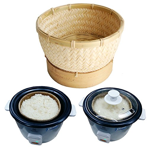 Exotic Elegance Sticky Rice Steamer Cooking Bamboo Basket for Insert in Rice Cooker (Basket Diameter 6.5