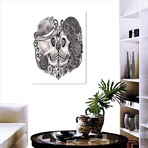Gothic Decor The Picture for Home Decoration Art Skull with Hat All Saints Day Mexico Culture Festival Floral Illustration Customizable Wall Stickers 24