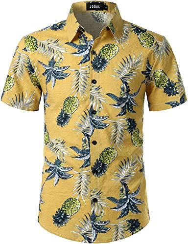 (JOGAL Men's Flower Casual Button Down Short Sleeve Hawaiian Shirt (Yellow, Small))