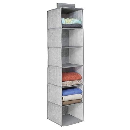 62209cc19 mDesign Organizador de tela para colgar en la barra del armario –  Estantería colgante para guardar