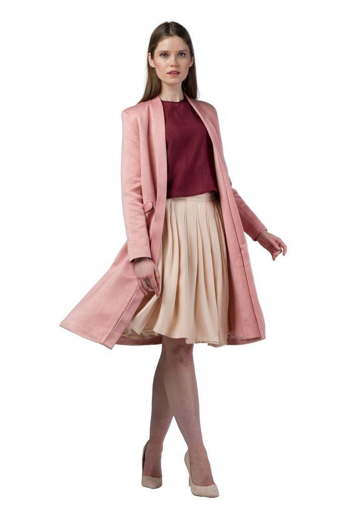 Imaima Women Long Slim Fit Cut Shiny Maxi Tan Coat Summer Coats 100% Cotton