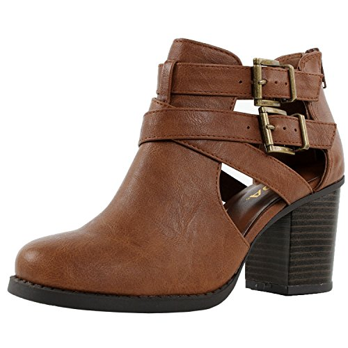 Room Of Fashion Ankle Bootie with Low Heel and Cut-Out Side Design Camel 8