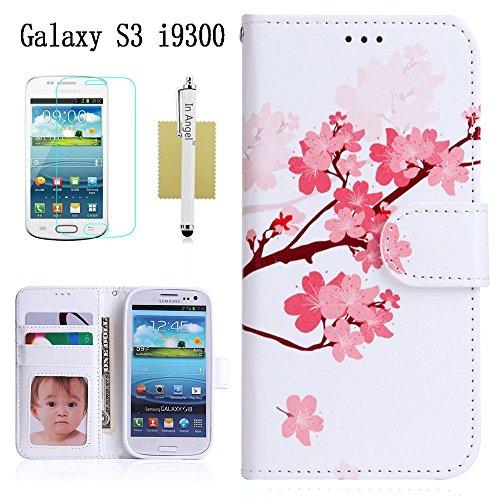 Galaxy S3 Hülle,Samsung Galaxy S3 Hülle IN ANGEL Lederhülle für Galaxy S3,Brieftasche Schutzhülle mit Magnetverschluss Tasche für Samsung Galaxy S3 I9300 (Pflaume)