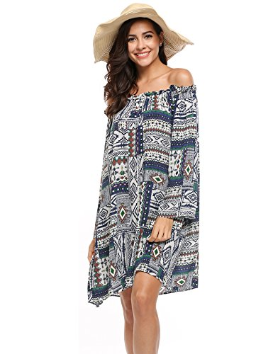 ACEVOG Women's Sexy Off the Shoulder Flare Sleeve Printed Loose Tunic Dress,Navy Blue,X-Large (Sexy Mexican Woman)