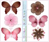 Pink and Brown Butterfly and Daisy Flower Wall Mural Stickers – butterflies flowers daisies baby nursery girls room decor nursery girl room decor decoration decorations sticker bedroom bathroom walls vinyl, Baby & Kids Zone