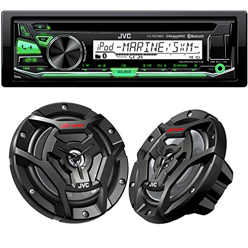 "JVC KD-R97MBS Bluetooth Marine Radio and a pair of JVC CS-DR6200M 6.5"" Black Marine Coaxial Speakers"
