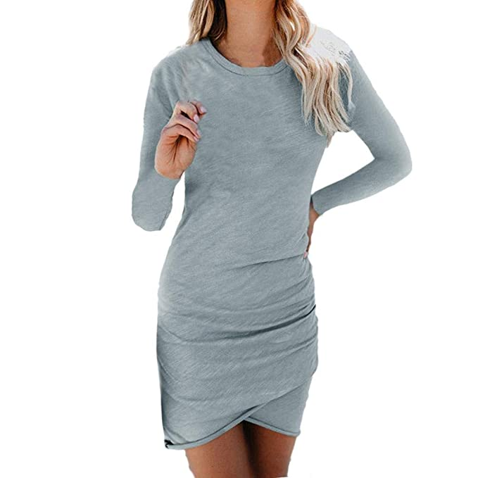 Vestido para Mujer Bodycon,❤ Absolute Mini Vestido Casual de Manga Larga Club Party