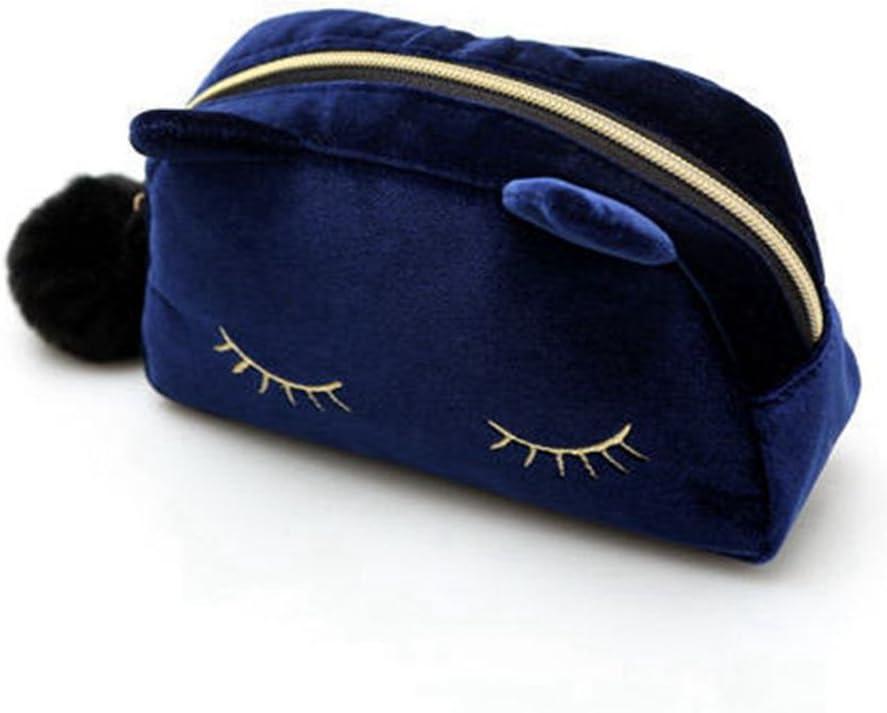 AKAAYUKO Chat Trousse /à maquillage Pochette de voyage pour Cosm/étiques Trousse de toilette pour Femmes Filles-Bleu
