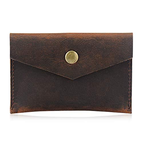 Bird&Fish Handmade Vintage Genuine Leather Minimalist Wallet, Front Pocket Business Card Holder (Art -