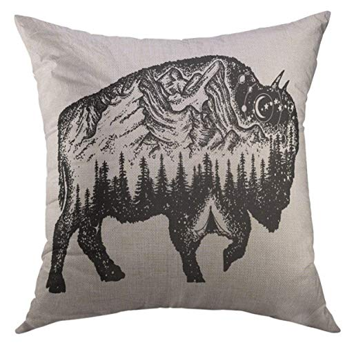 Mugod Decorative Throw Pillow Cover for Couch Sofa,Bison Tattoo Mountain Forest Night Sky Magic Tribal Double Exposure Animals Buffalo Bull Travel Symbol Home Decor Pillow case 18x18 Inch