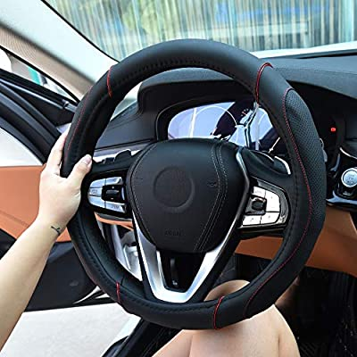 AOYMEI Leather Steering Wheel Cover Microfiber Anti-Slip Breathable Odorless Universal 15 inch Automotive Interior Accessories (Style 1, Black 2): Automotive