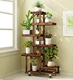Flower Stand Multi-Layer Plant Display Racks Flower Pot Shelf Garden Wooden Shelving Living Room Bedroom Balcony Decoration Floor Stand Floor-Standing (Color : Carbon Baking, Size : Wheeled)